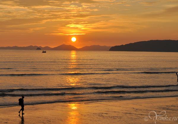 Закат в Таиланде, пляж Ао-Нанг (Краби)