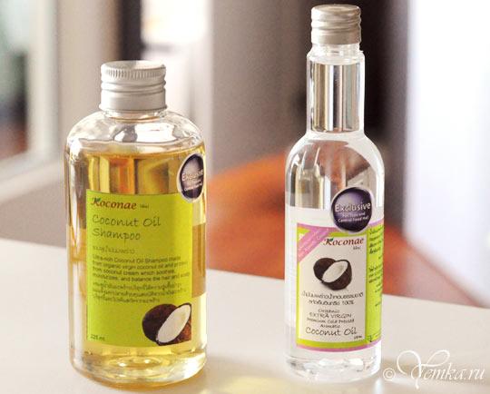 Шампунь на основе кокосового масла и чистое кокосовое масло