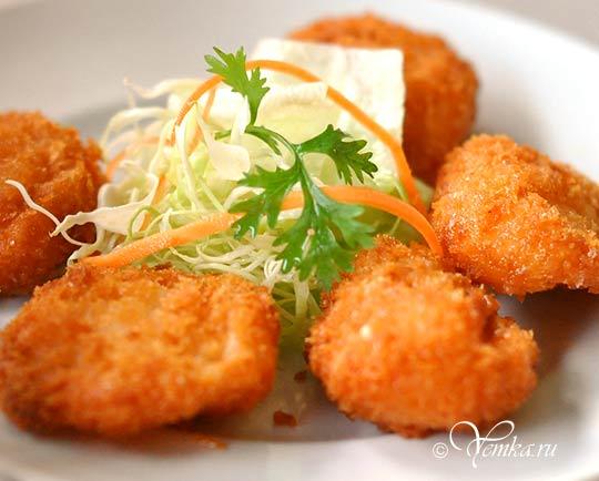 Еда в Таиланде. Лепешки из креветок. Shrimp cakes (Шримп Кейкc)