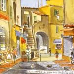 На стенах отеля - картины с изображением улиц Сан-Тропе